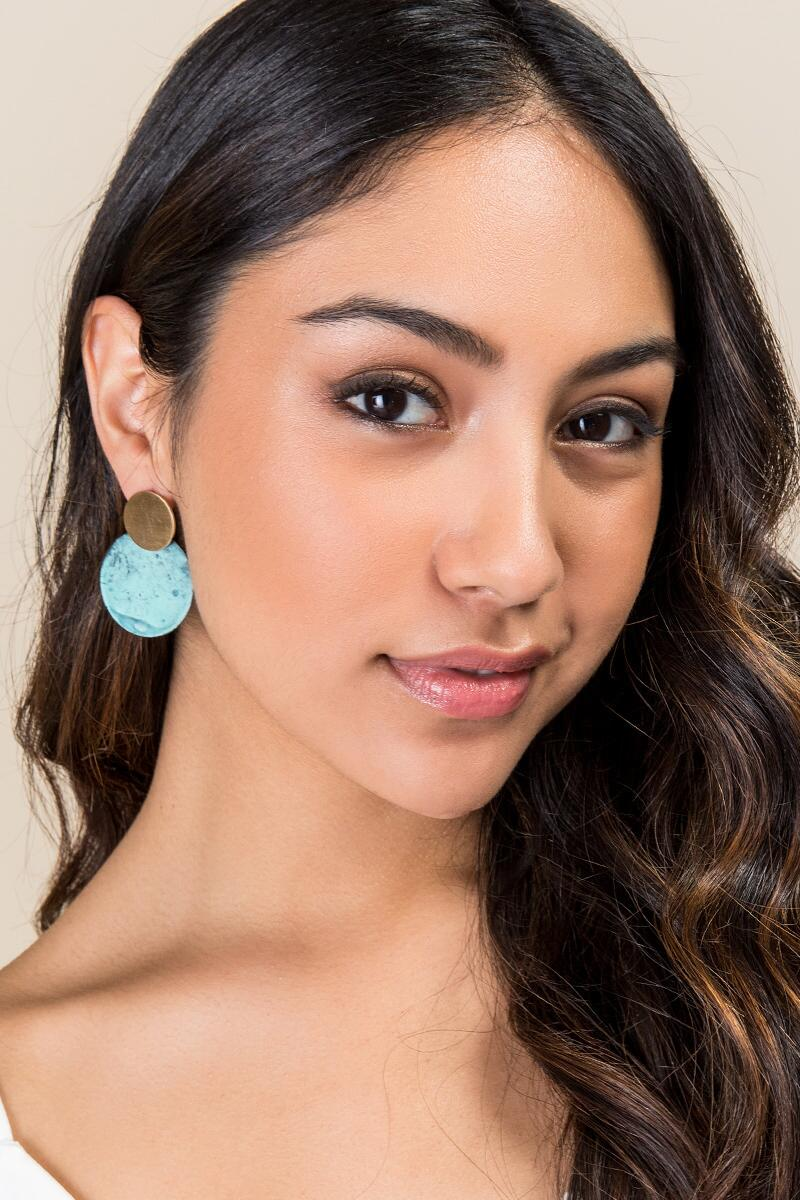 Camille Circle Drop Earrings- Turquoise model