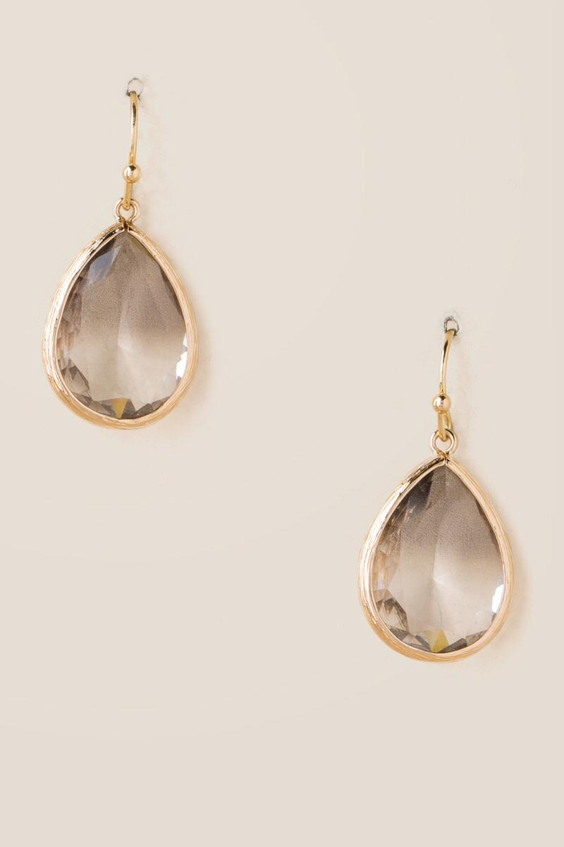 Nancy Glass Teardrop Earrings In Gray-  gray-cl