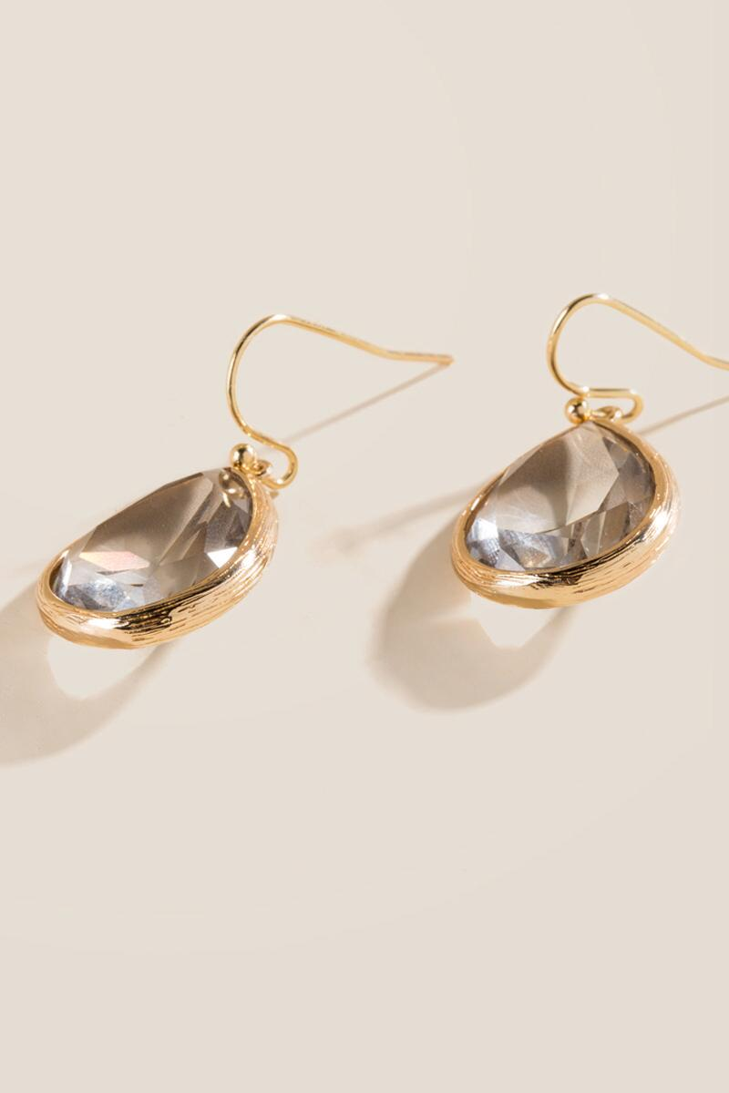 Nancy Glass Teardrop Earrings In Gray-  gray-clalternate