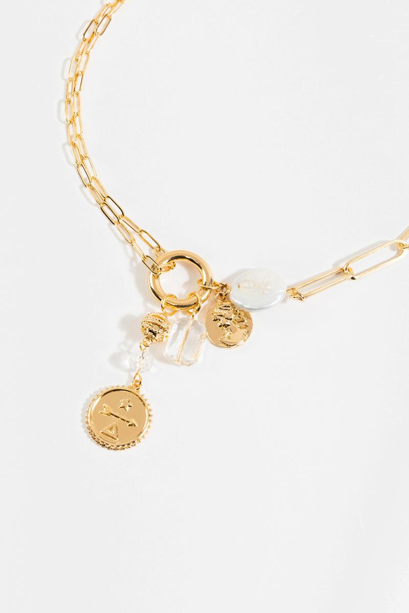 Lanette Mixed Charm Necklace- Gold 3