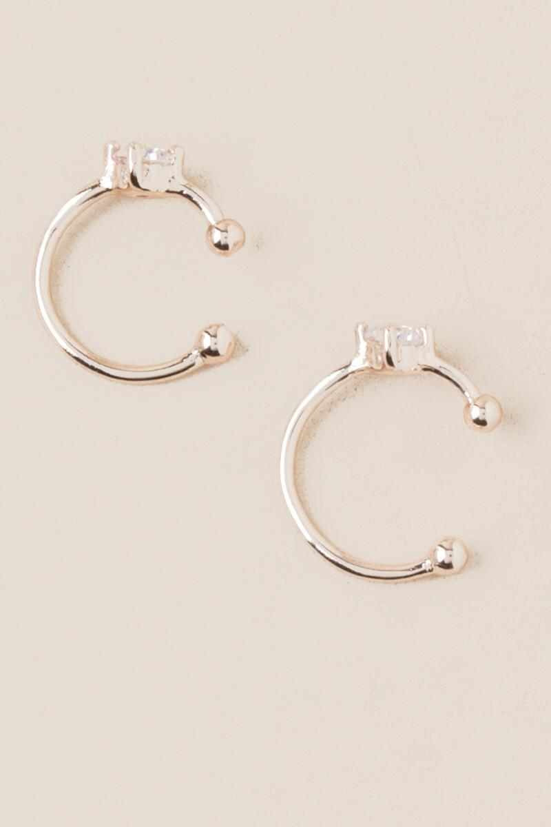 Nyla Cubic Zirconia Cuff Earrings In Rose Gold