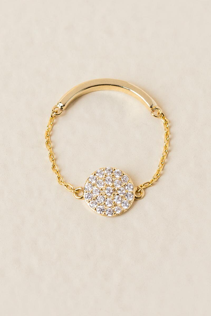 Julip Cubic Zirconia Chain Ring-  gold-cl