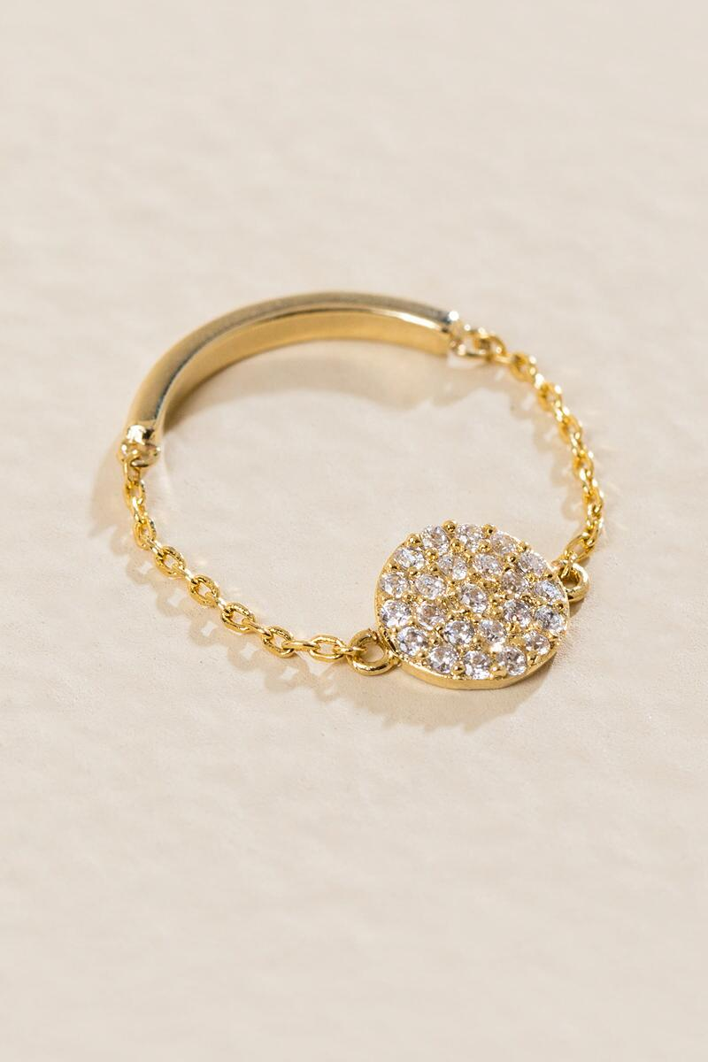 Julip Cubic Zirconia Chain Ring-  gold-clalternate