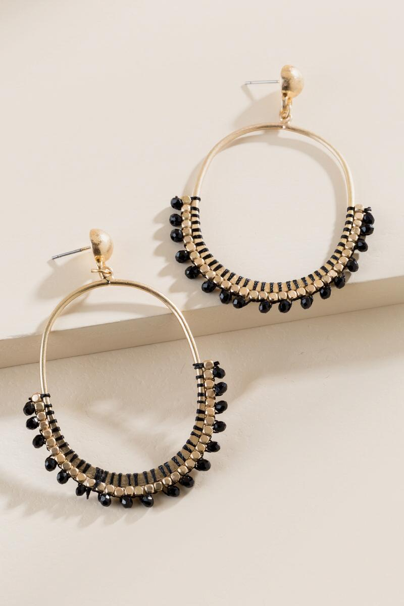 Lucille Oval Beaded Earrings