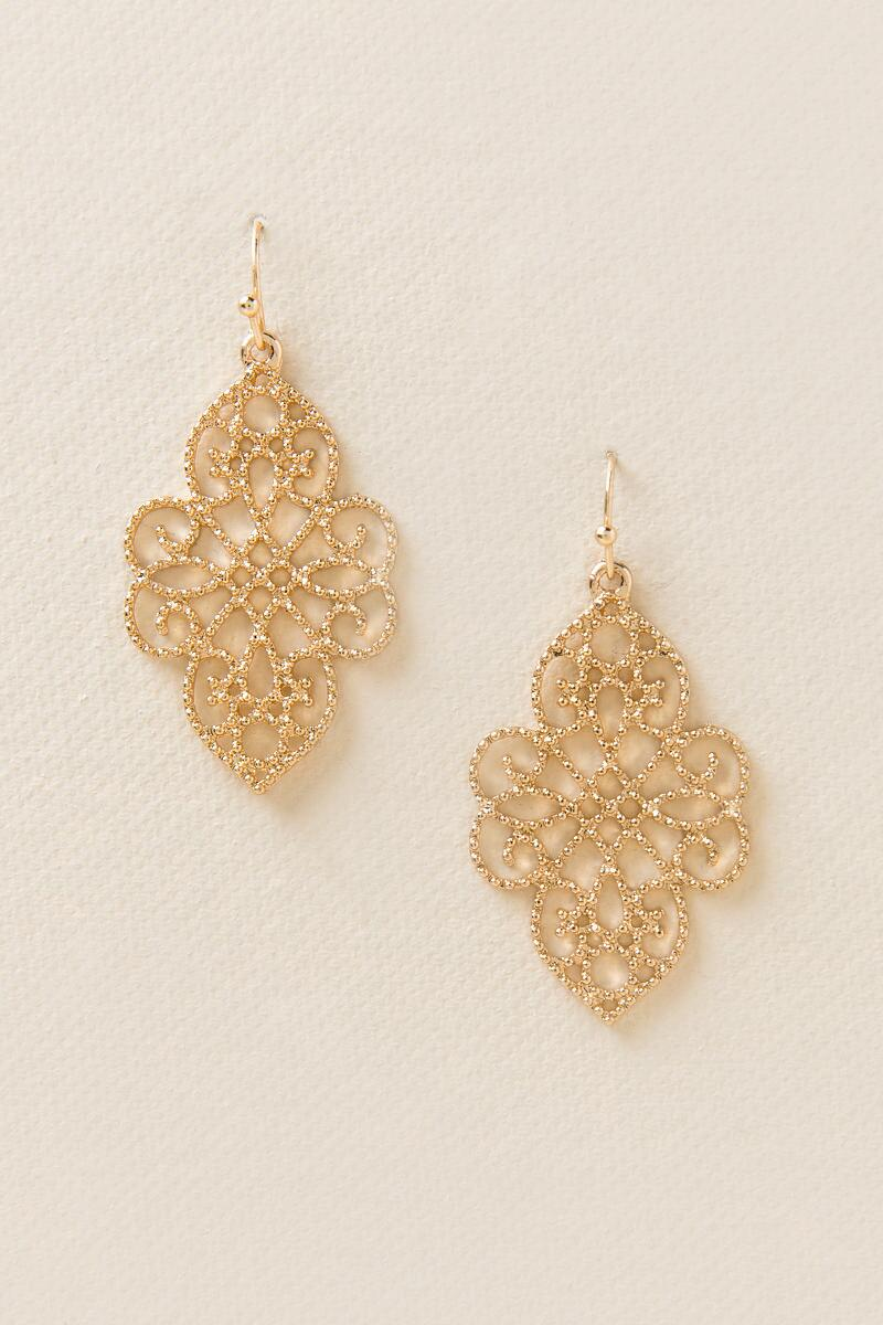 Maren Filigree Drop Earrings-  gold-cl