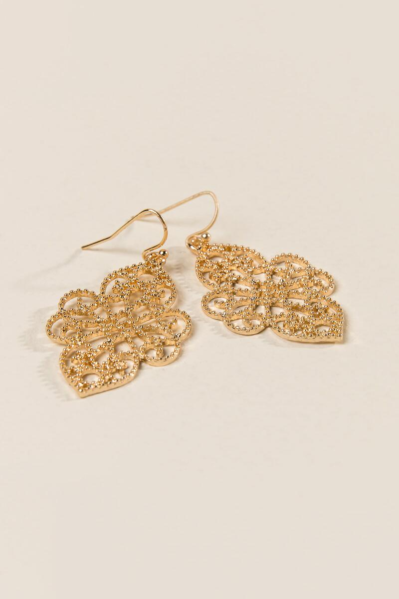 Maren Filigree Drop Earrings-  gold-clalternate