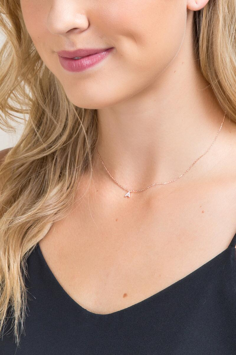 'A' Initial Pendant Necklace in Rose Gold-  gold-clmodel