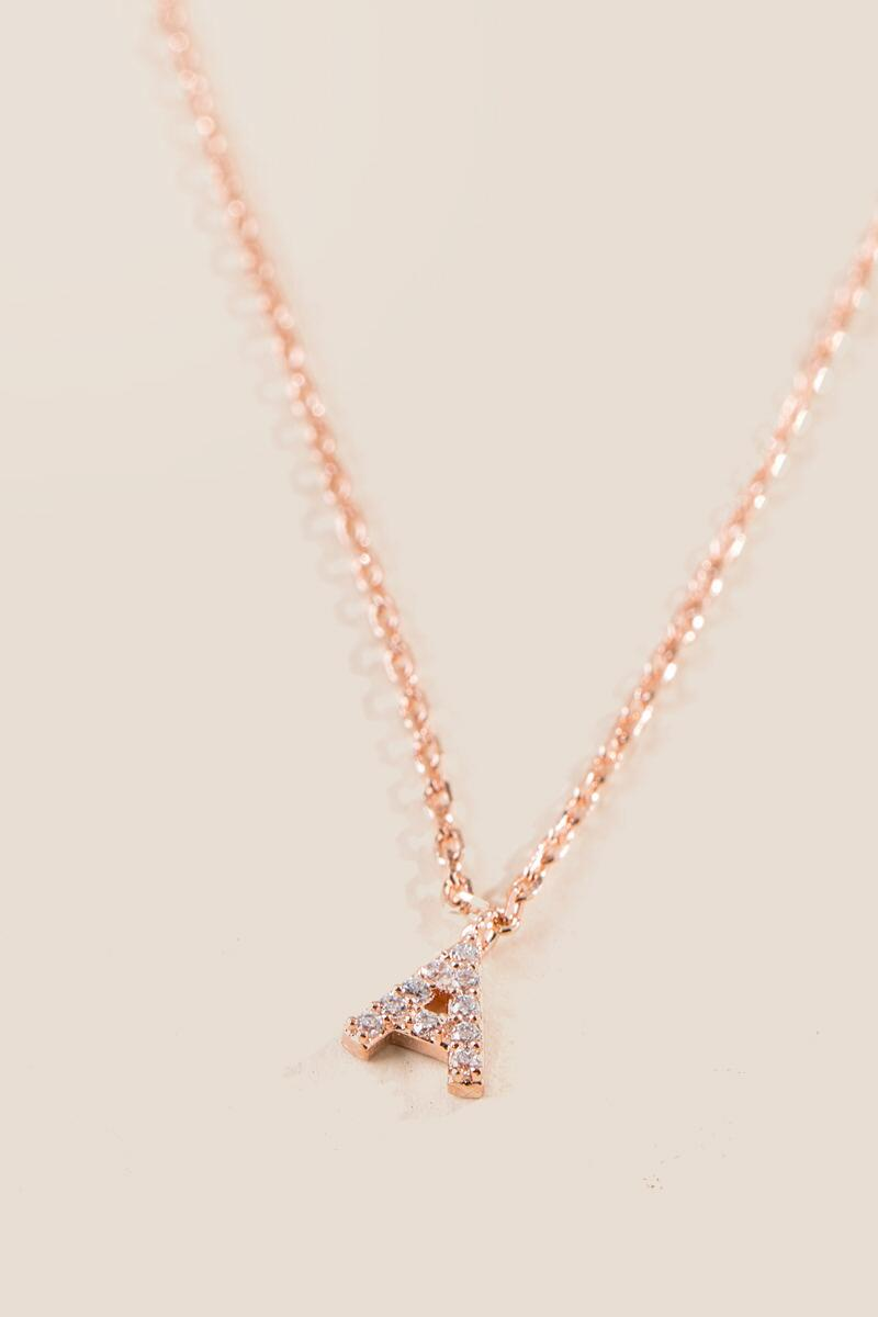 'A' Initial Pendant Necklace in Rose Gold-  rgold-clalternate