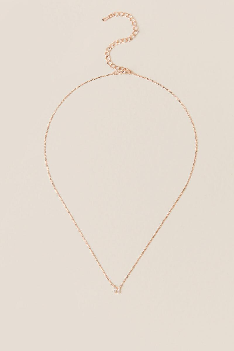 'N' Initial Pendant Necklace in Rose Gold