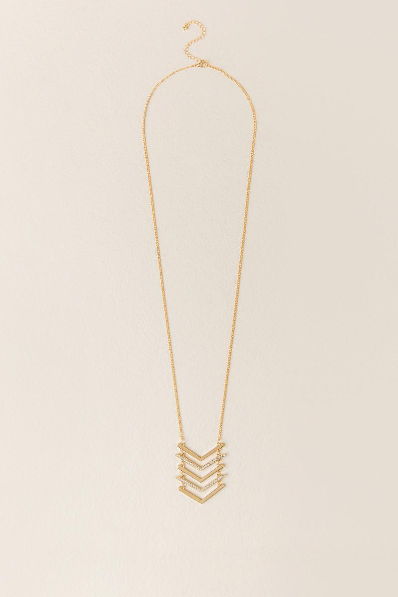 Reese Pavè Chevron Pendant Necklace-  gold-cl