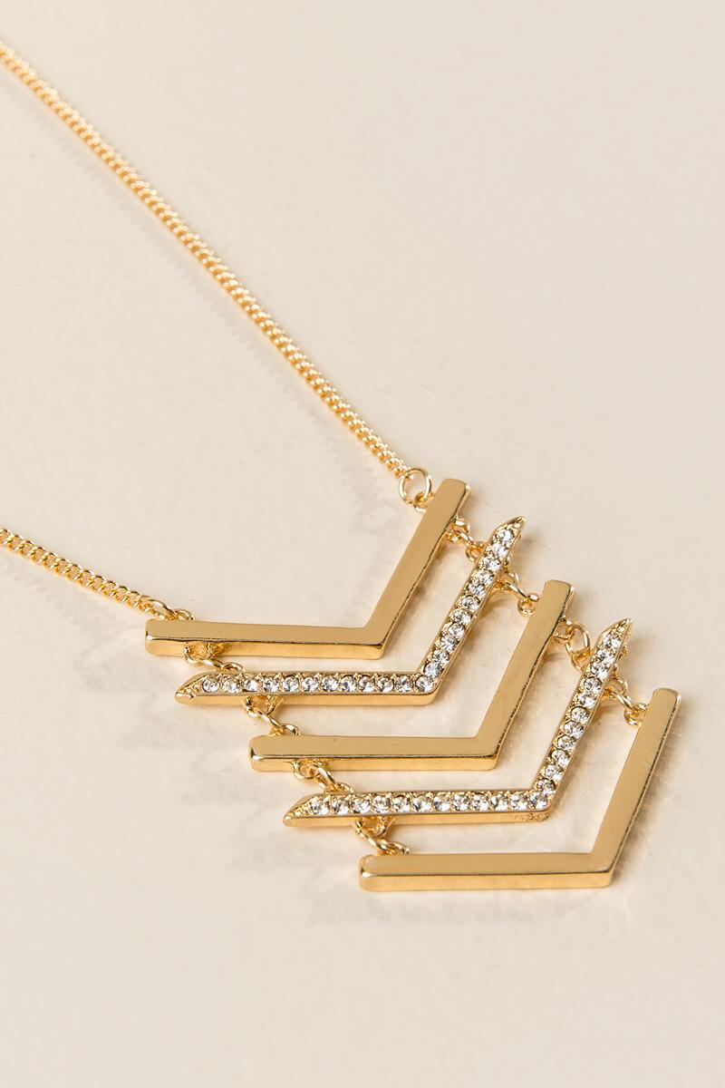 Reese Pavè Chevron Pendant Necklace-  gold-clalternate