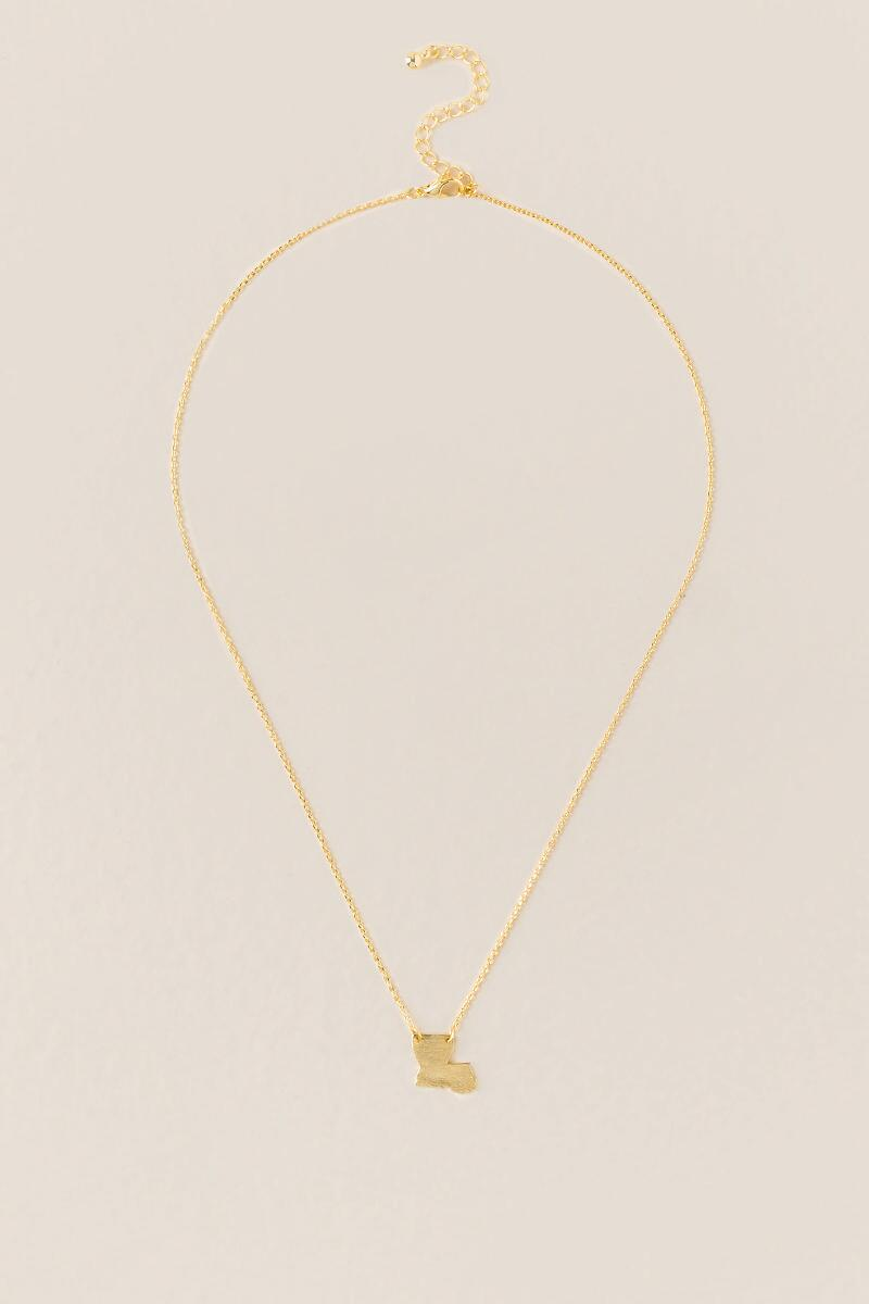 Louisiana Pendant Necklace in Gold-  gold-clalternate
