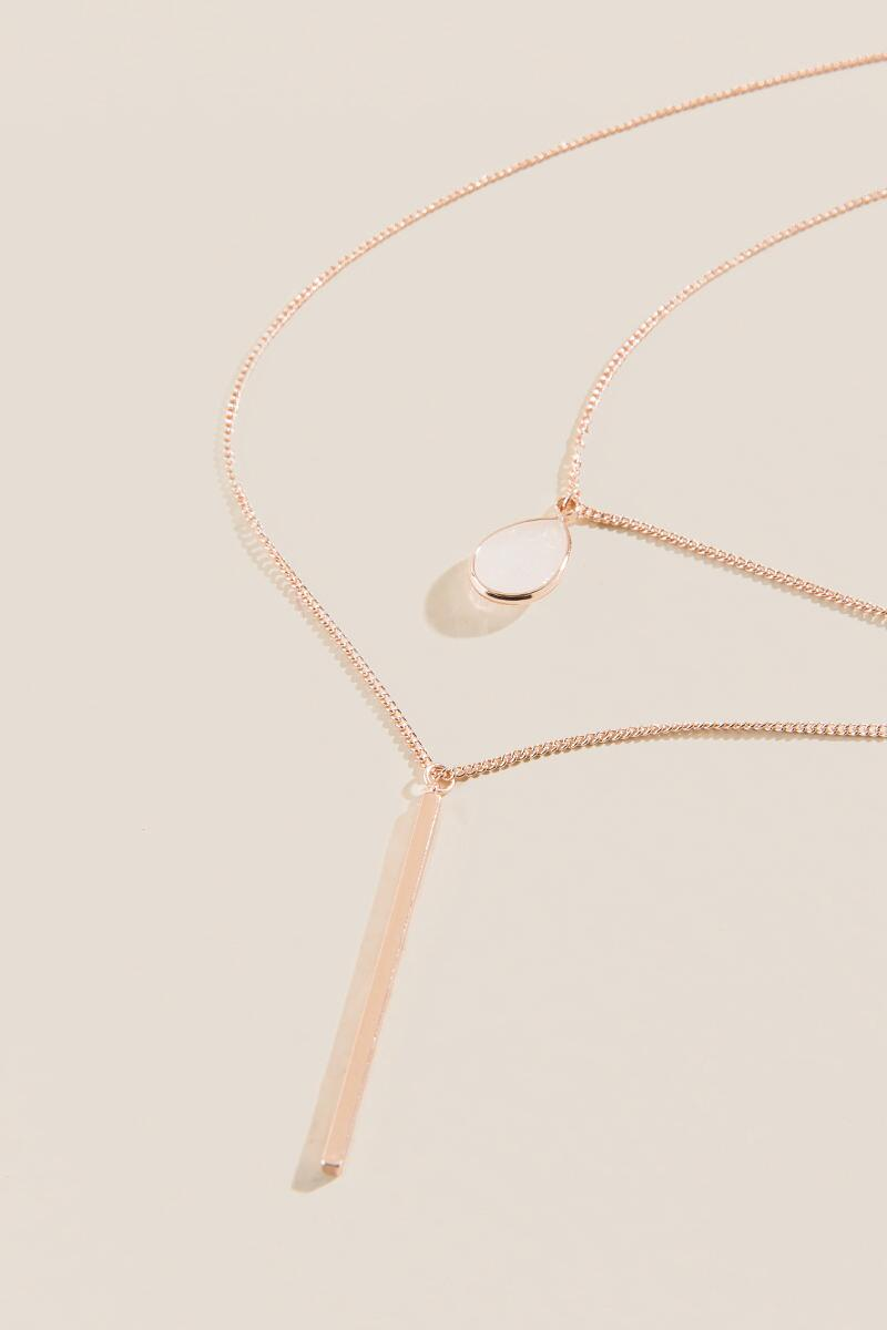 Kali Opal Layered Necklace in Rose Gold-Rose/Gold alternate