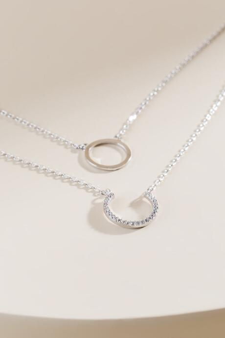 Annika Open Circle Pendant Layered Necklace