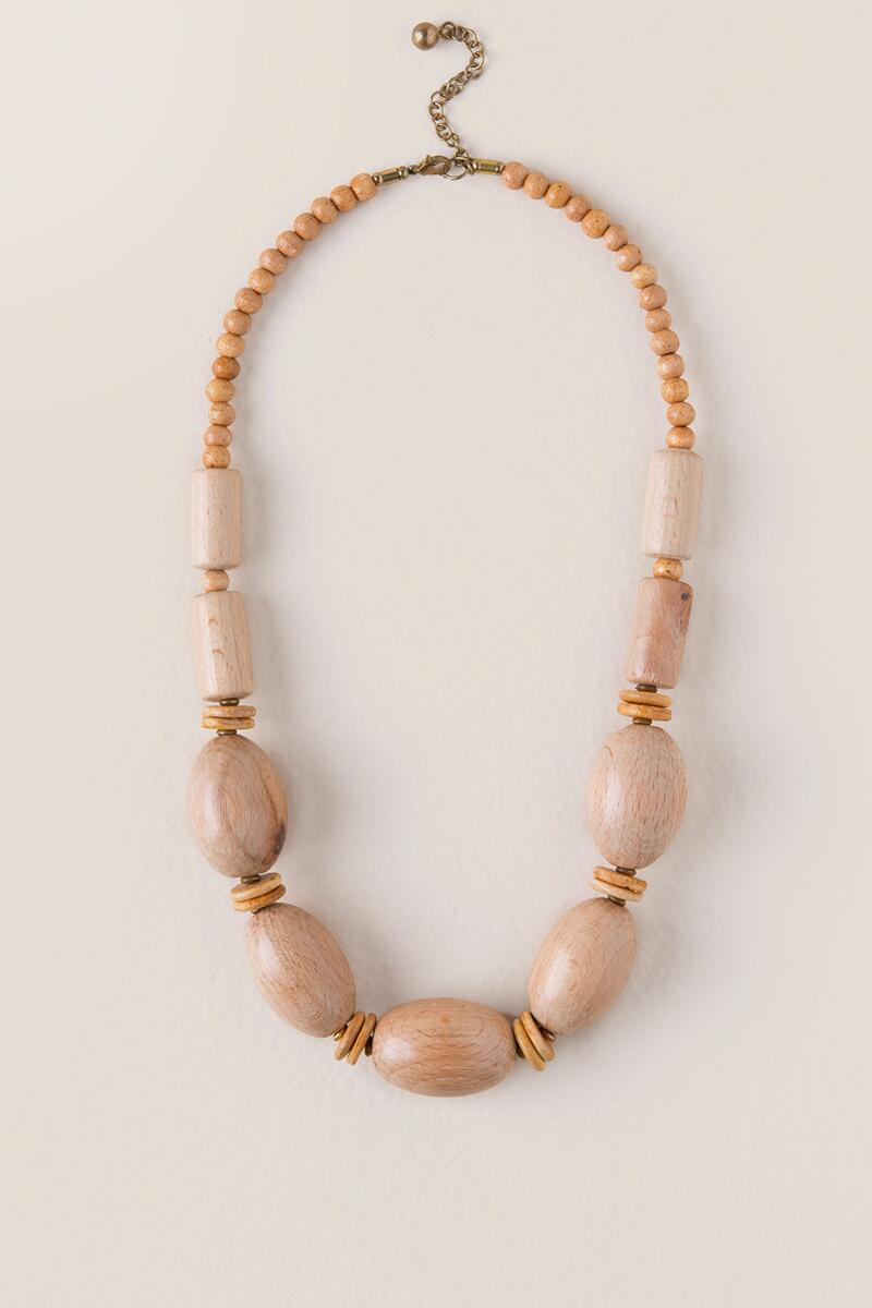Brooke Oval Wood Bead Necklace-  tan-cl