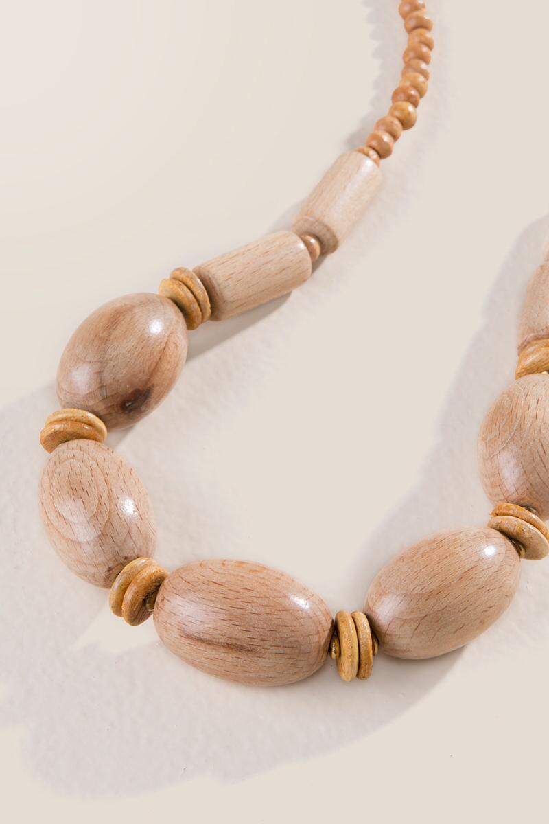 Brooke Oval Wood Bead Necklace-  tan-claternate