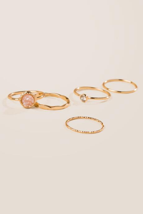 Zoe Druzy Ring Set in Blush