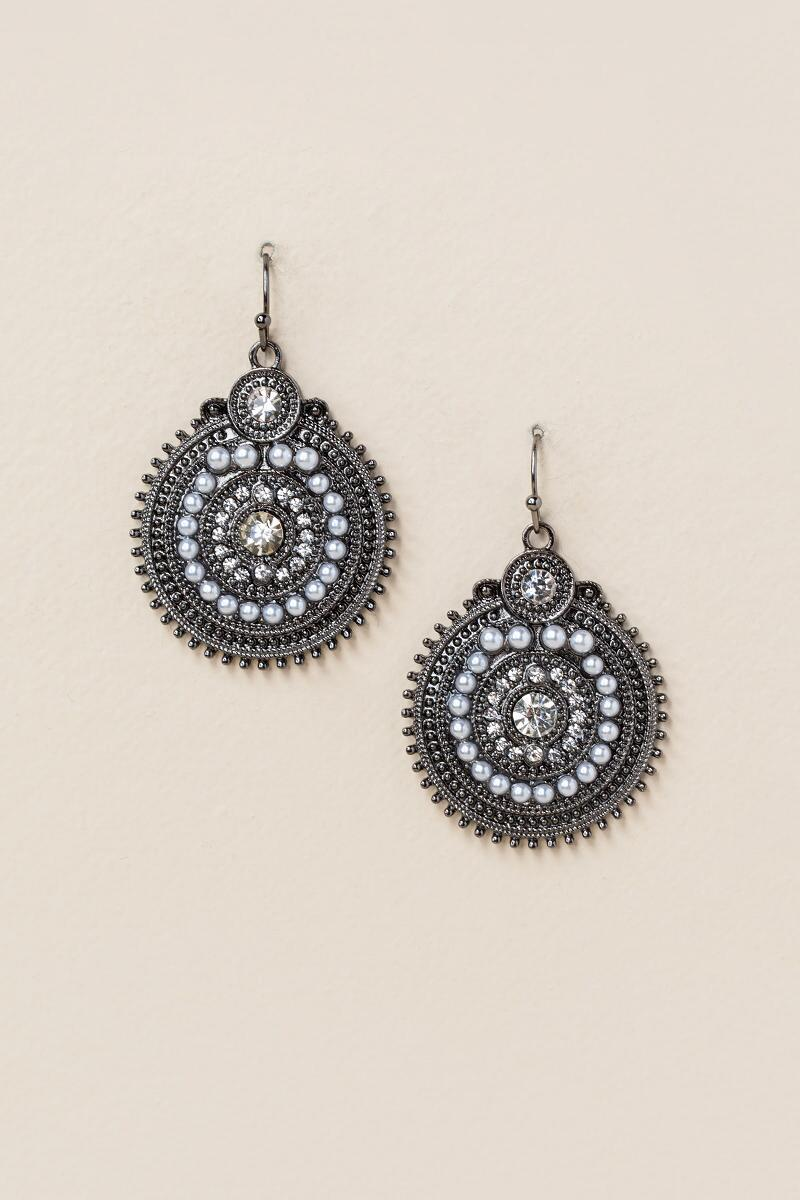 Karyn Circle Drop Earring-  silv-cl