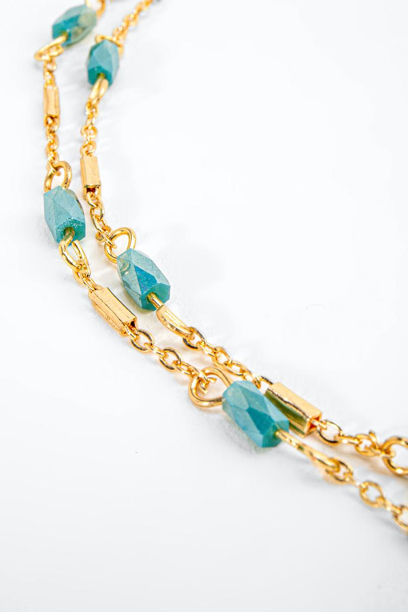 Itzel Beaded Links Layered Necklace-Green