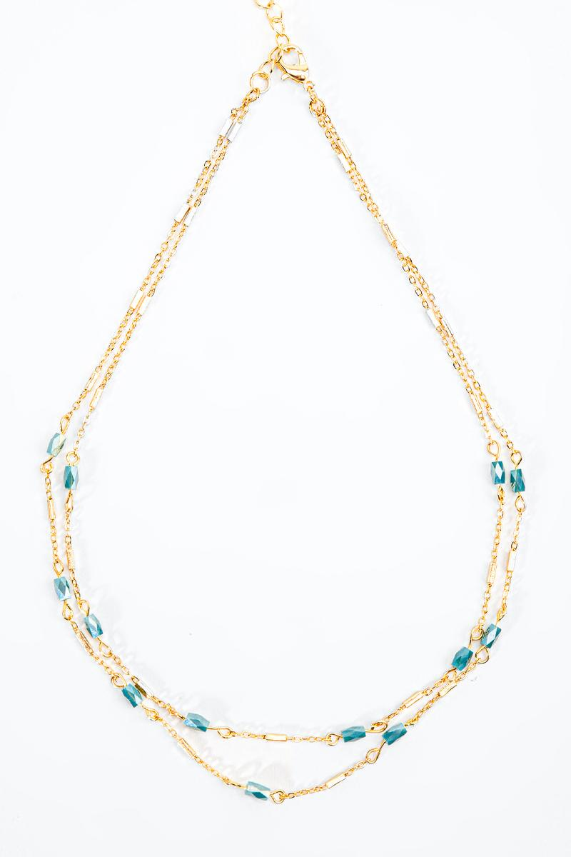 Itzel Beaded Links Layered Necklace-Green 3