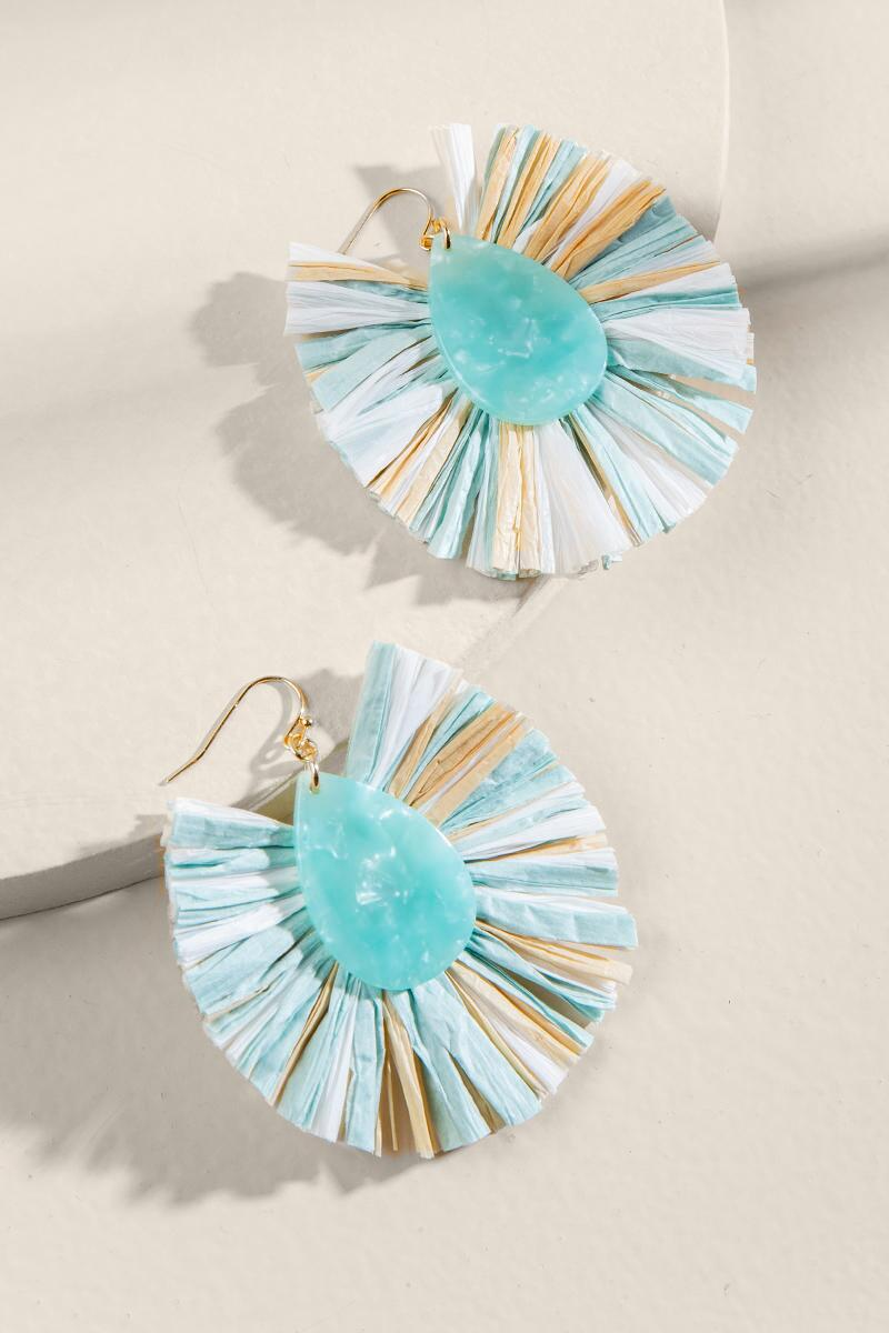 Carolina Multi Raffia Statement Earrings- Mint