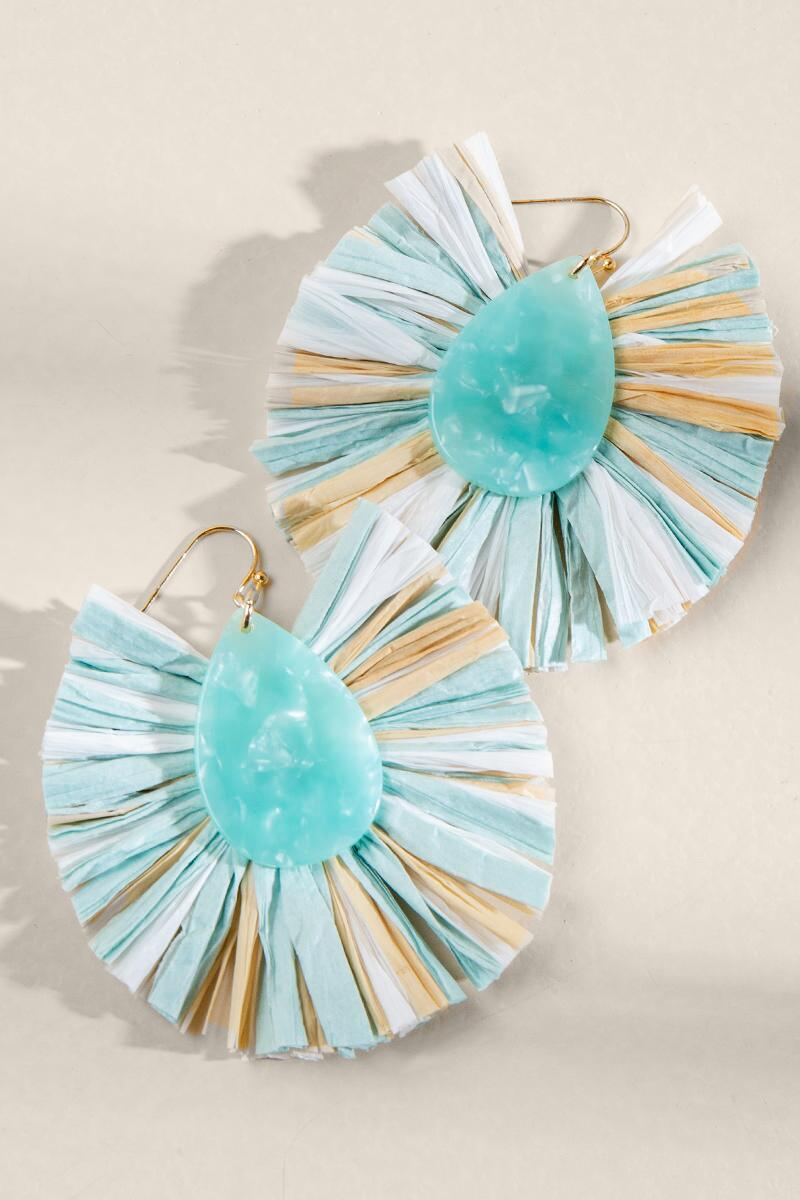 Carolina Multi Raffia Statement Earrings- Mint 2