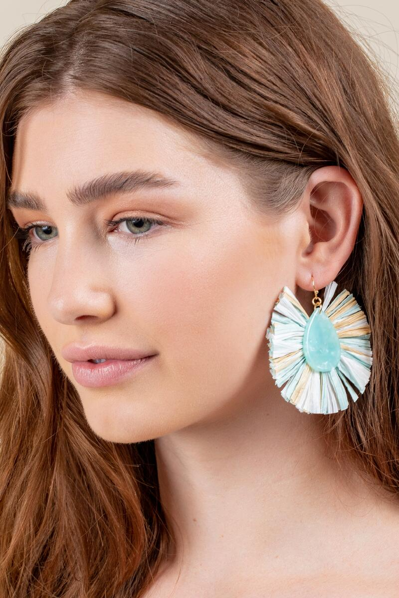 Carolina Multi Raffia Statement Earrings- Mint 3