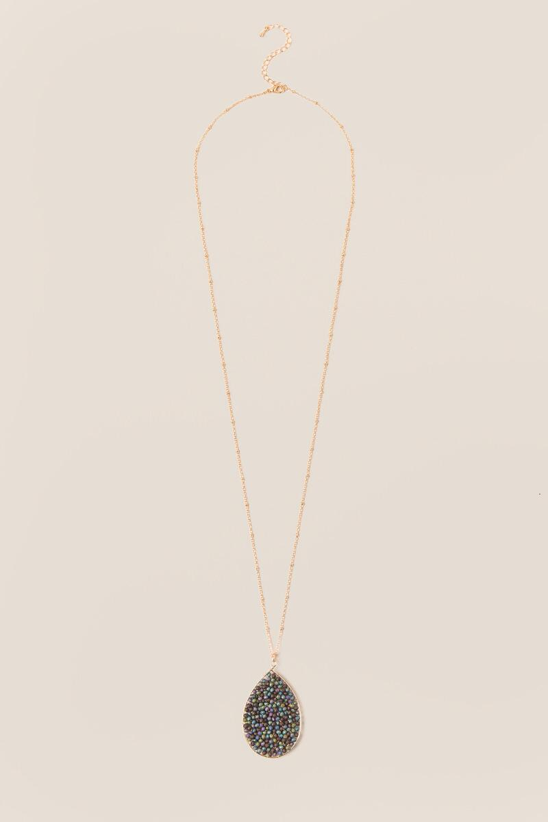 Nia Beaded Pendant in Iridescent Black-  multi-cl