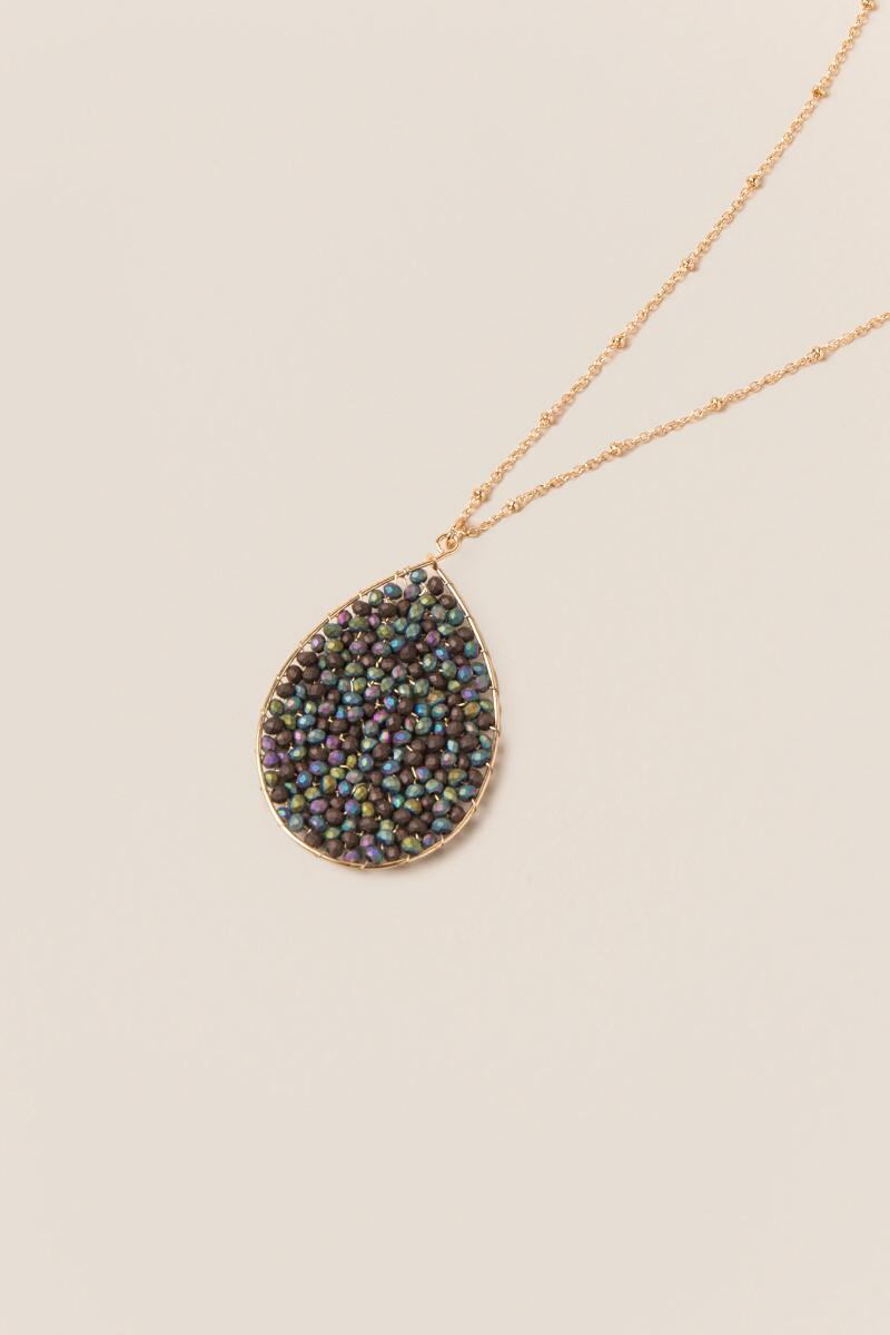 Nia Beaded Pendant in Iridescent Black-  multi-clalternate