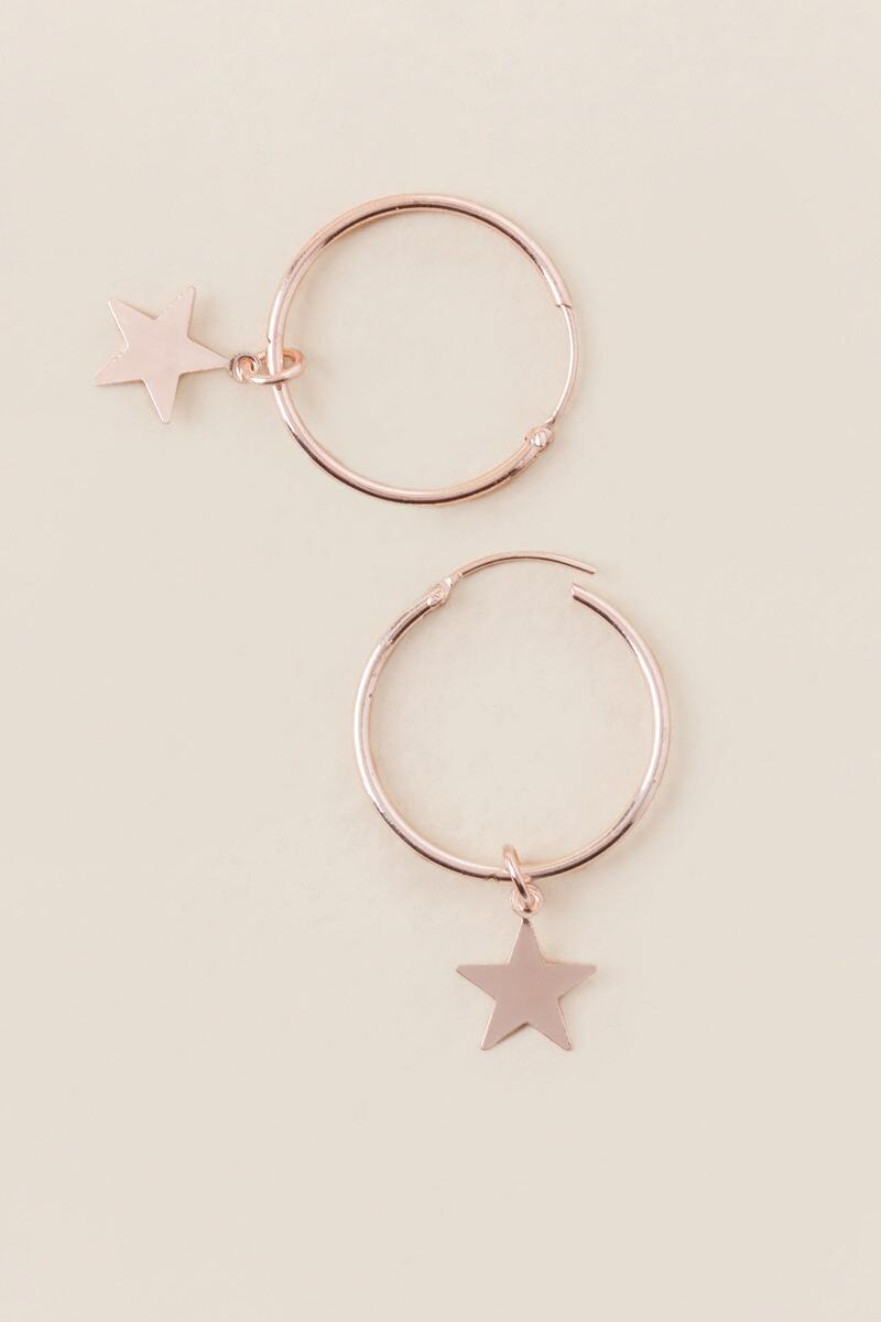 Star Charm Hoop Earring In Rose Gold-  rgold-cl