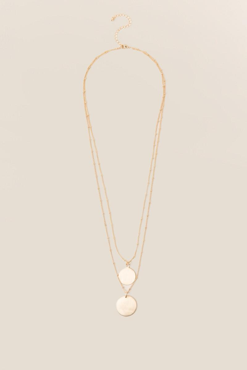 Myra Double Gold Coin Necklace-  gold-cl