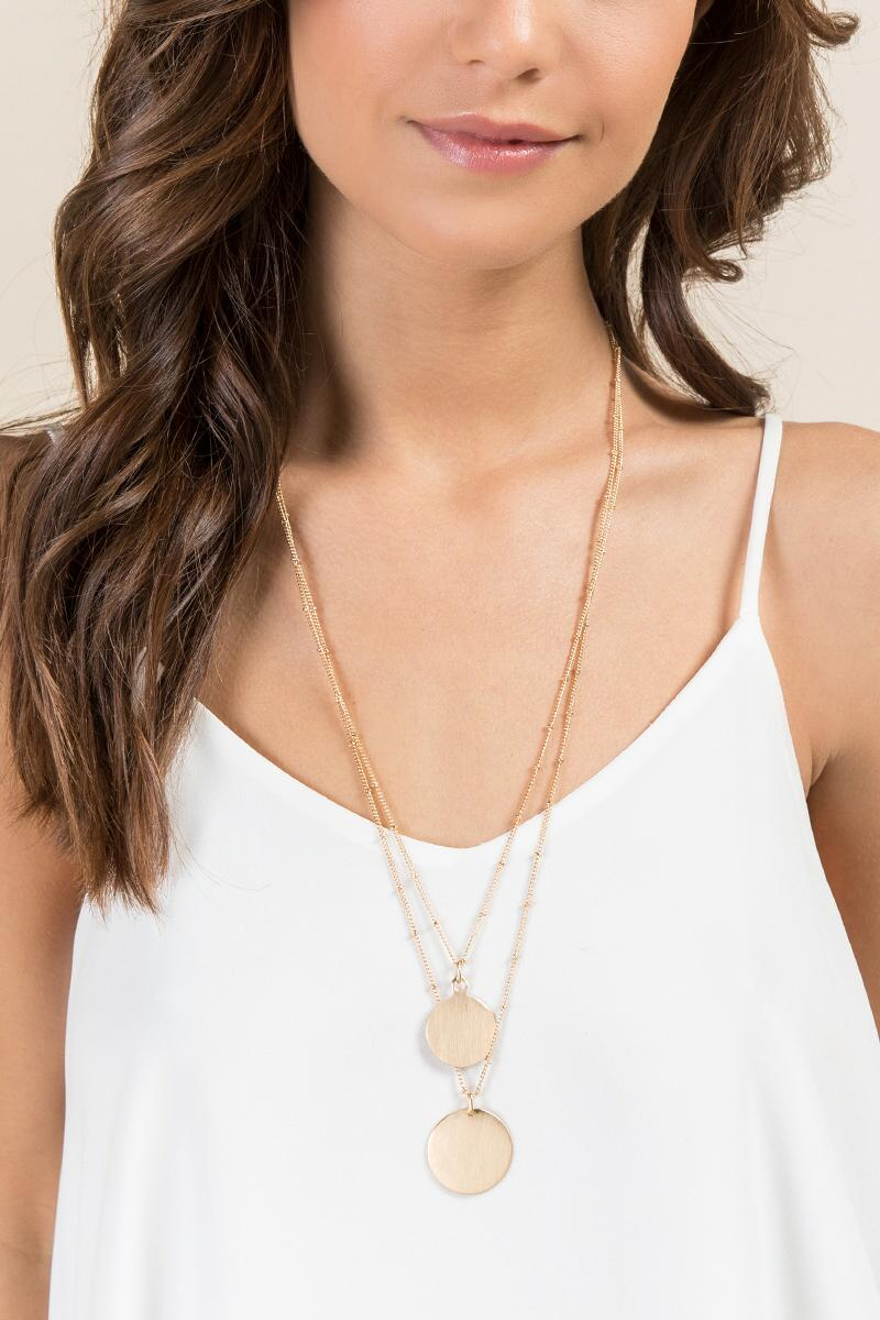 Myra Double Gold Coin Necklace-  gold-clmodel