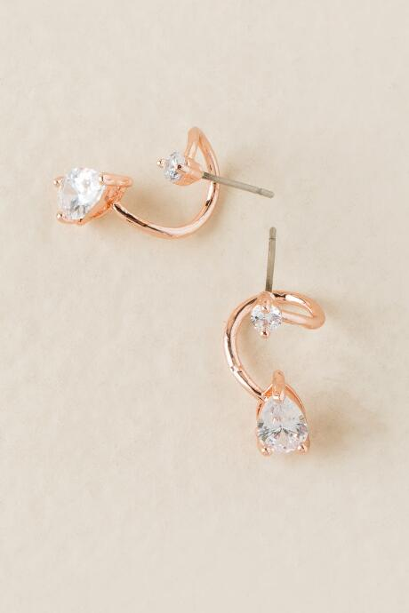 Dinah Cubic Zirconia Spiral Stud Earrings In Rose Gold