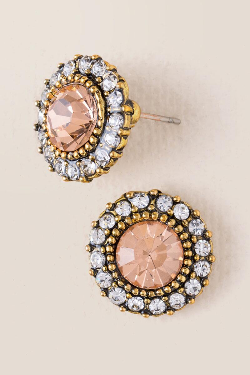 Chrissy Glass Stone Stud-  plyel-cl