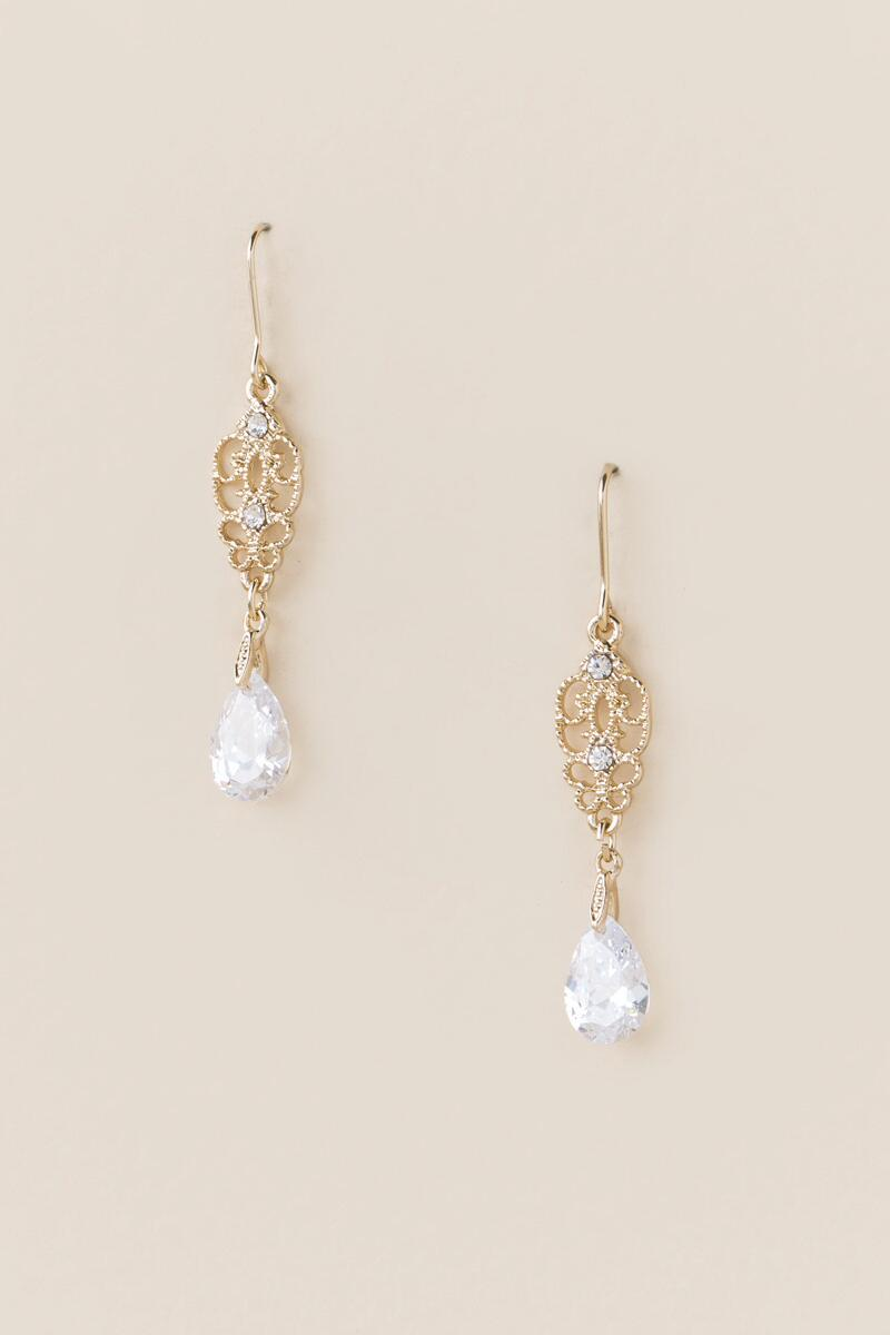 Isobel Filigree Crystal Drop Earrings