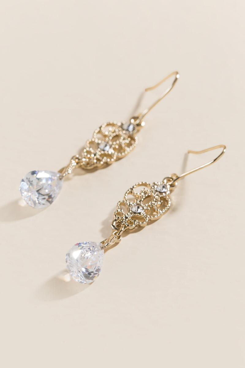 Isobel Filigree Crystal Drop Earrings-  cry-clalternate