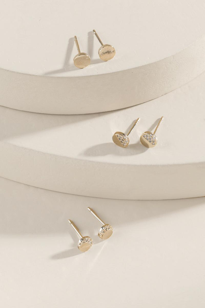 Haverly Circle Stud Earring Set-  gold-clalternate