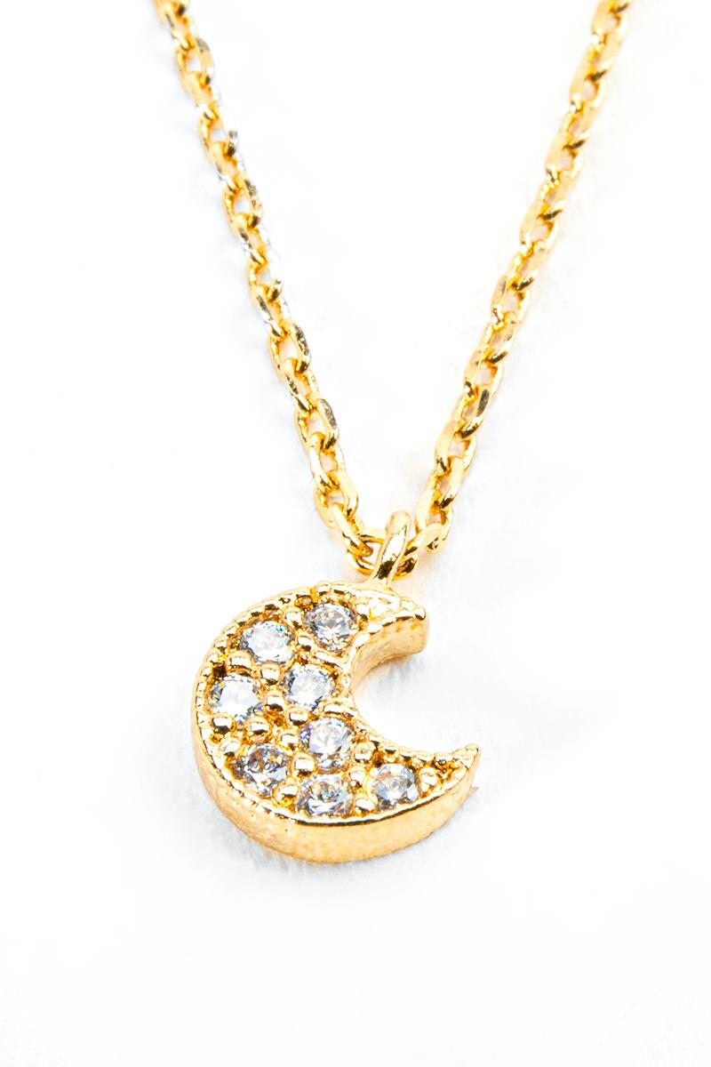 Shirley Pavé Moon Pendant Necklace- Gold