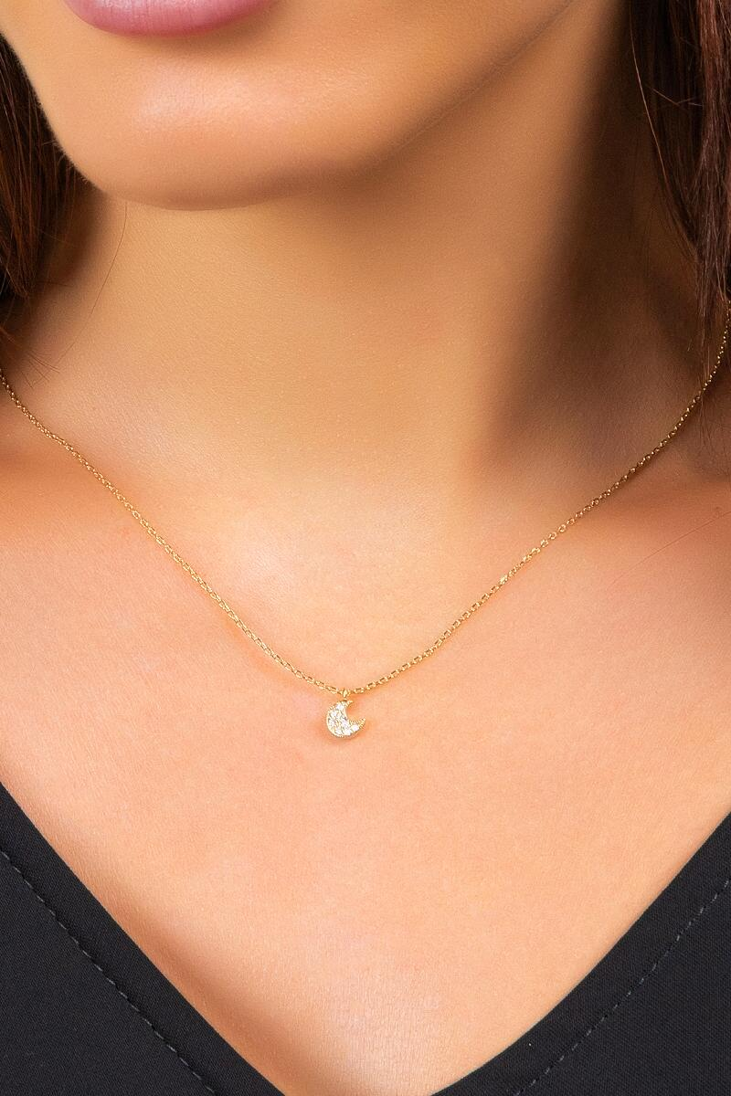 Shirley Pavé Moon Pendant Necklace- Gold 2
