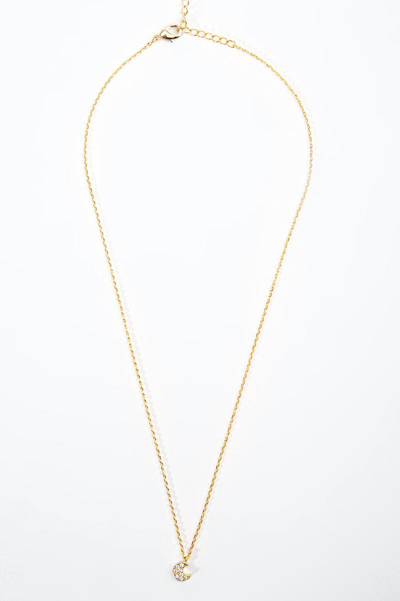 Shirley Pavé Moon Pendant Necklace- Gold 3
