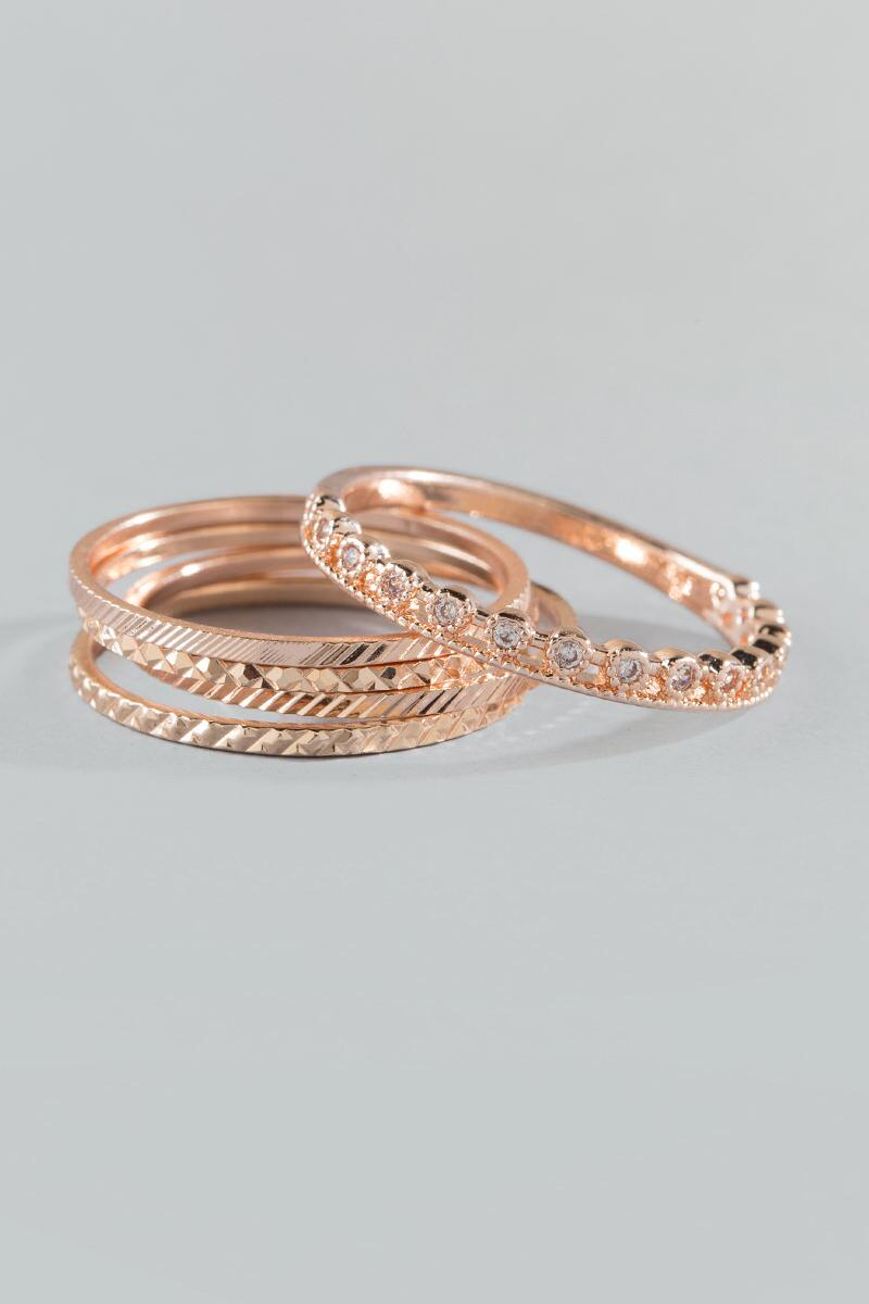 Margo Textured Ring Set- Rose/Gold