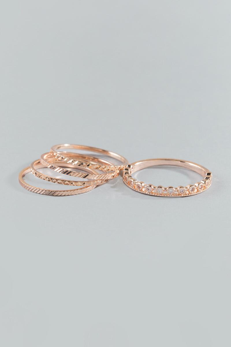 Margo Textured Ring Set- Rose/Gold alternate