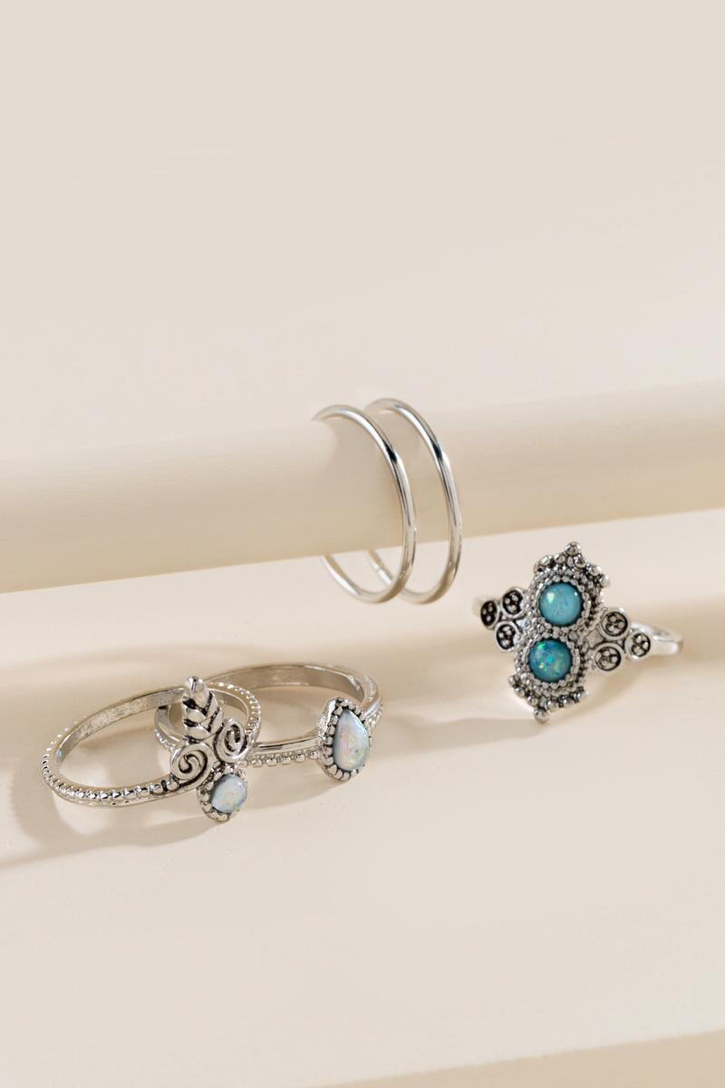 Chey Stacking Ring Set-  ltblu-cl