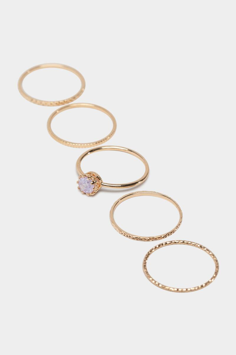 Amaya Stacking Ring Set in Lavender- Lavender