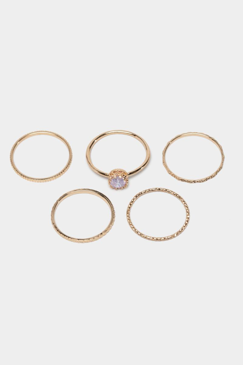 Amaya Stacking Ring Set in Lavender- Lavender 3