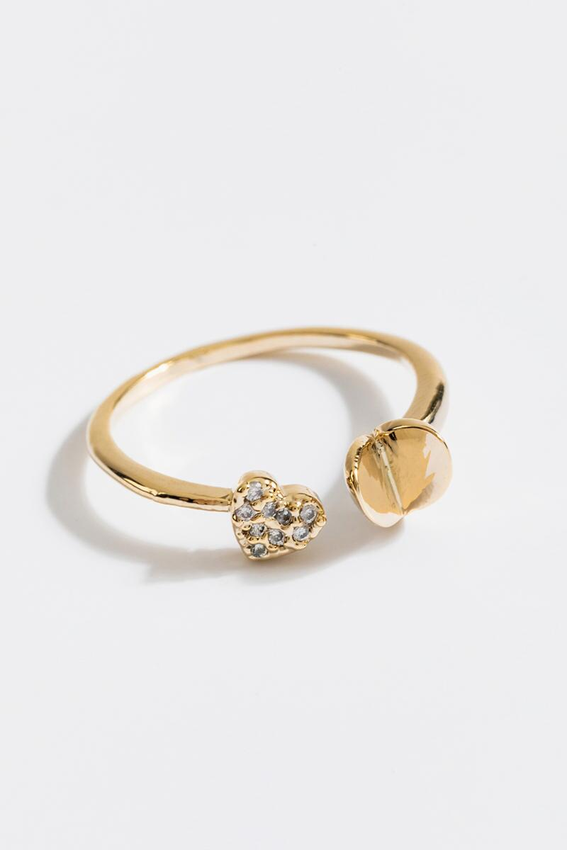 Diane Pavé Heart Ring- Gold