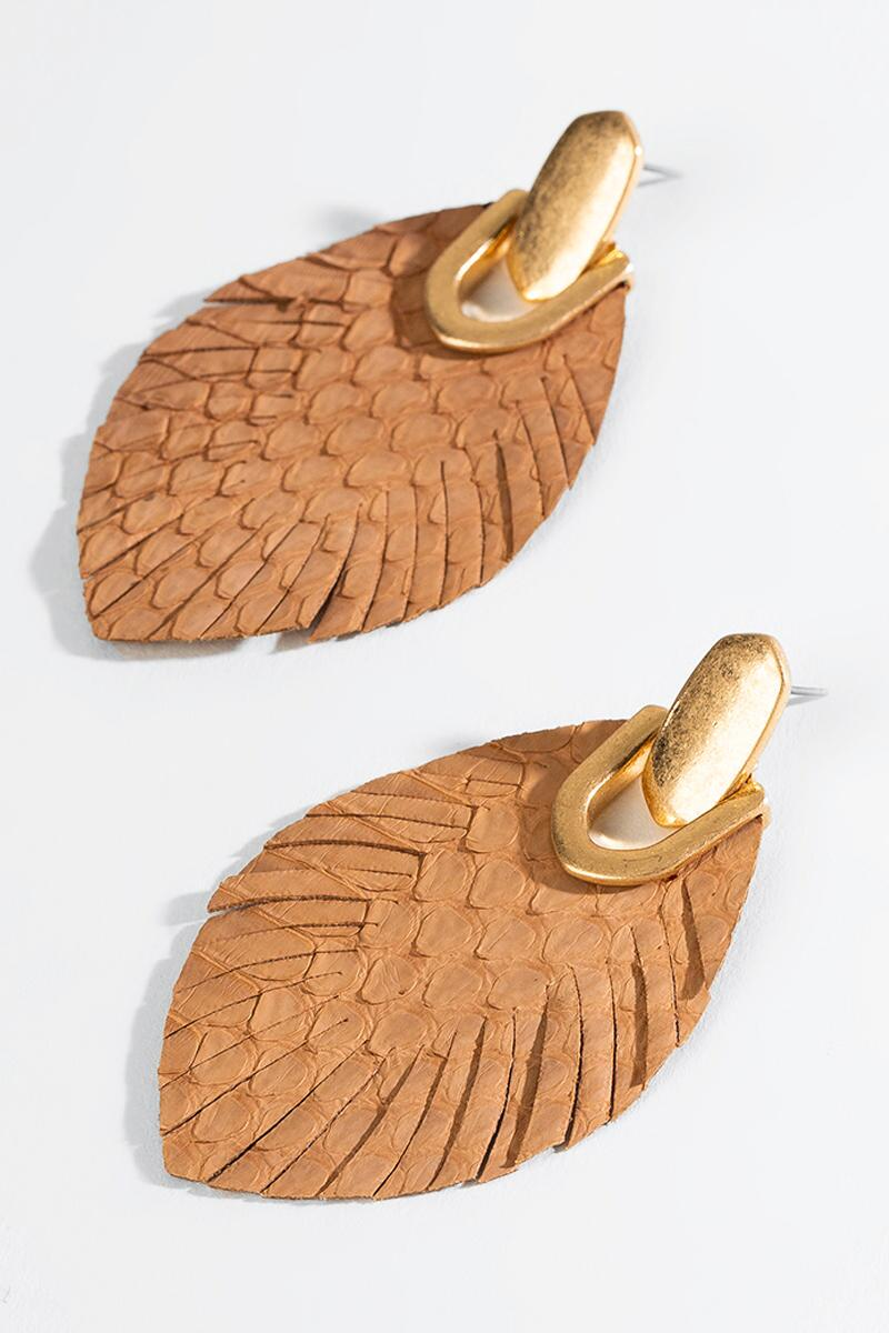 Angelica Leather Feather Drop Earrings-  brwn-cl