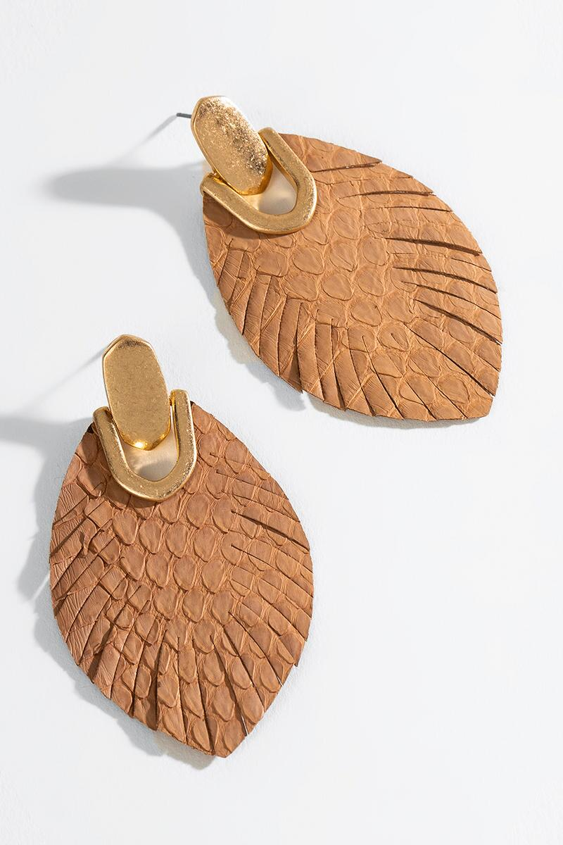 Angelica Leather Feather Drop Earrings-  brwn-cl3
