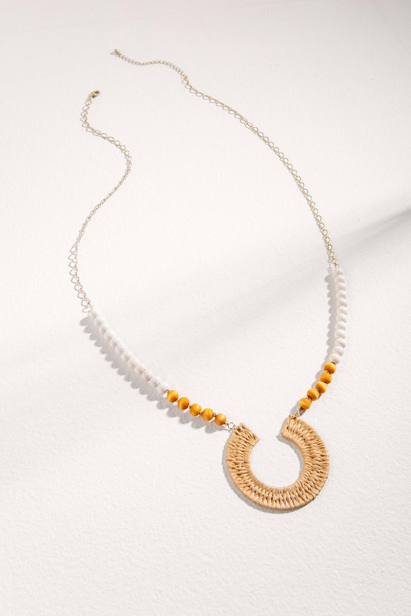 Aria Rattan Beaded Pendant Necklace- Natural
