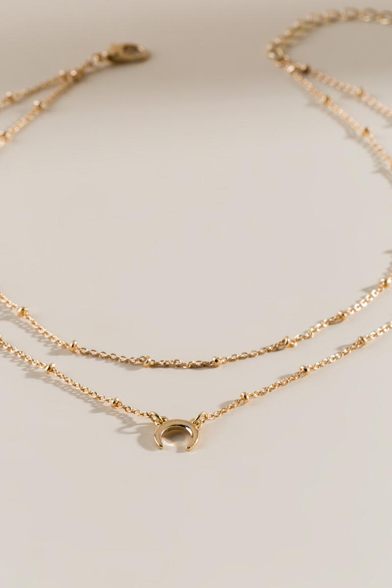 Catherine Layered Bullhorn Choker-  gold-cl